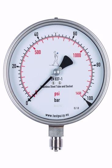 Afbeelding van 0-100 Bar Manometer, Ø150mm, 1%