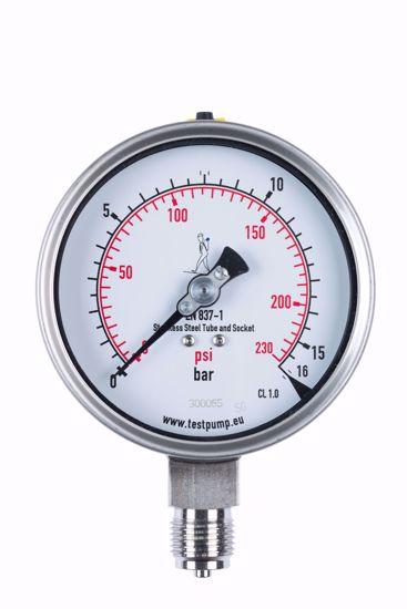 Afbeelding van 0-16 Bar Manometer, Ø100mm, 1%